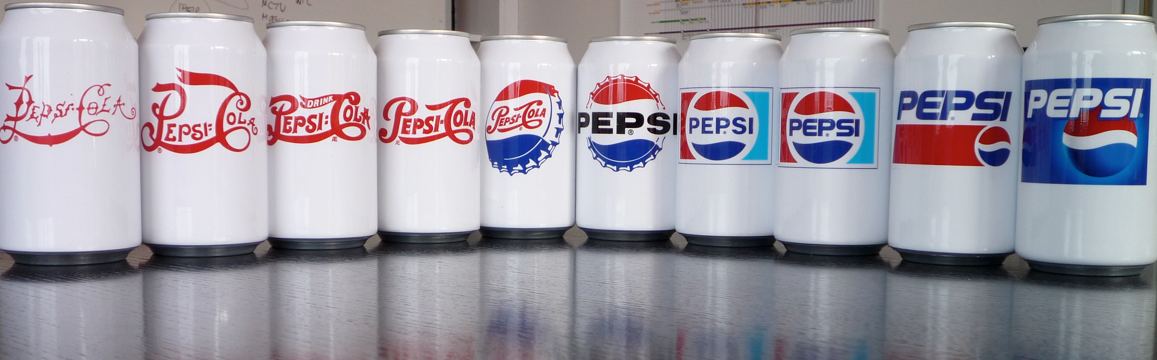 PEPSI logo cans evolution