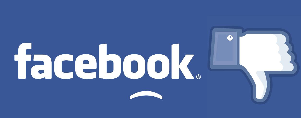 facebook logo thumb down sad smiley
