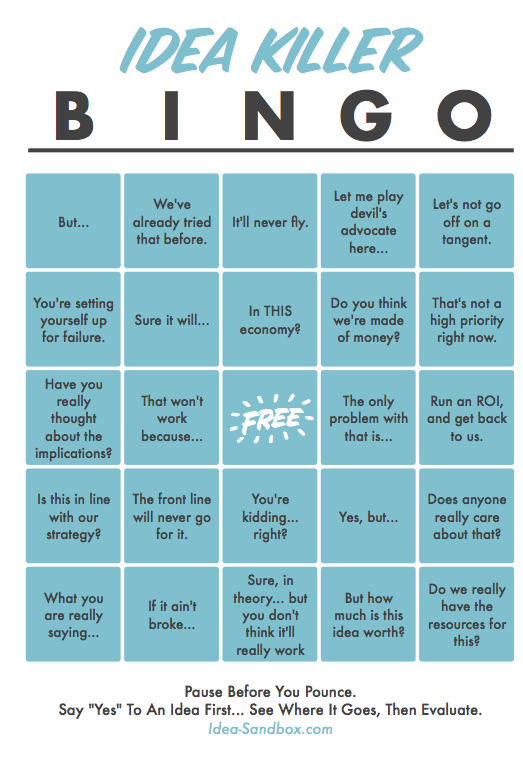 idea killer bingo